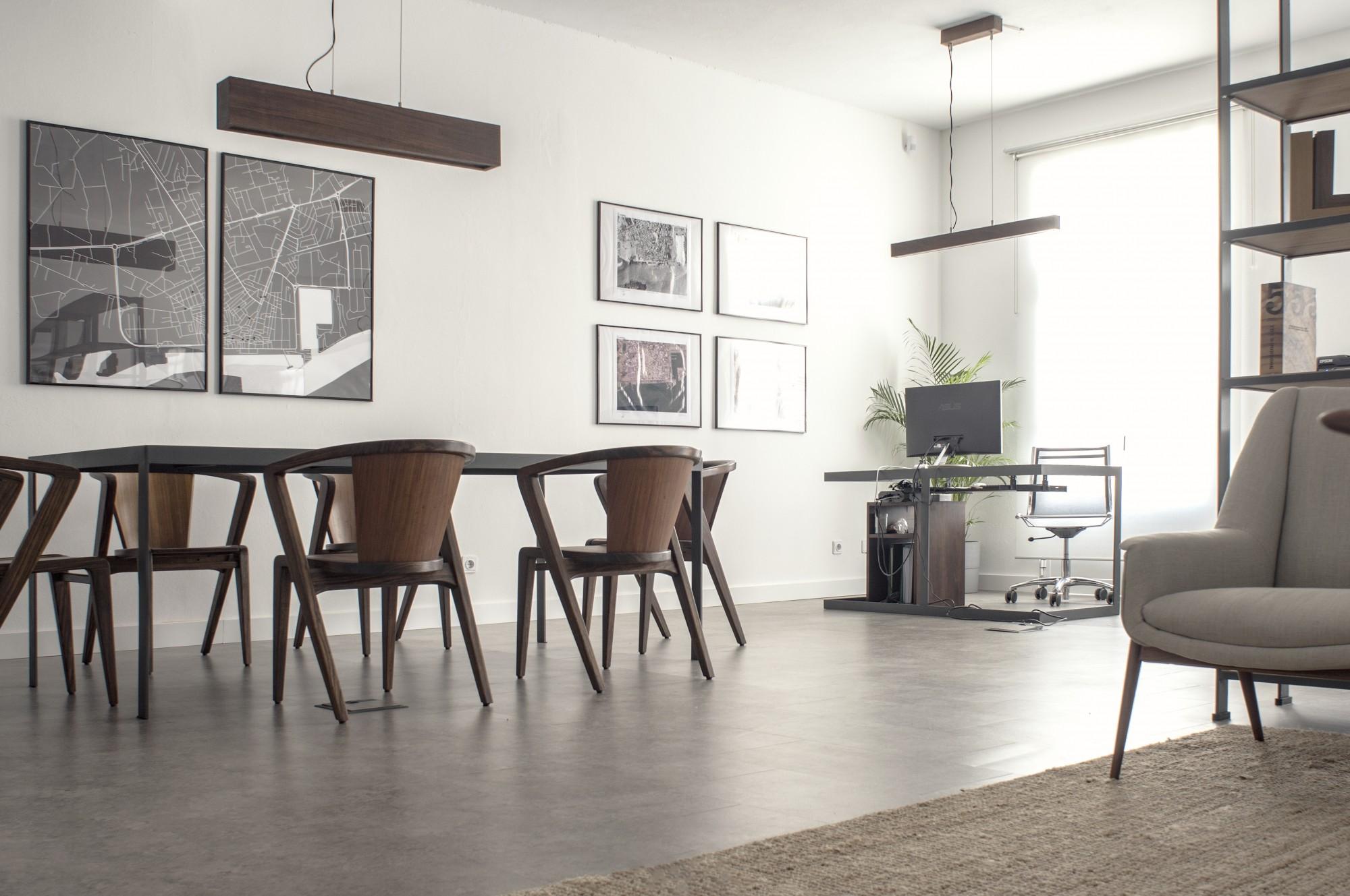Custom furniture and lighting. Designed by Sena Architects
